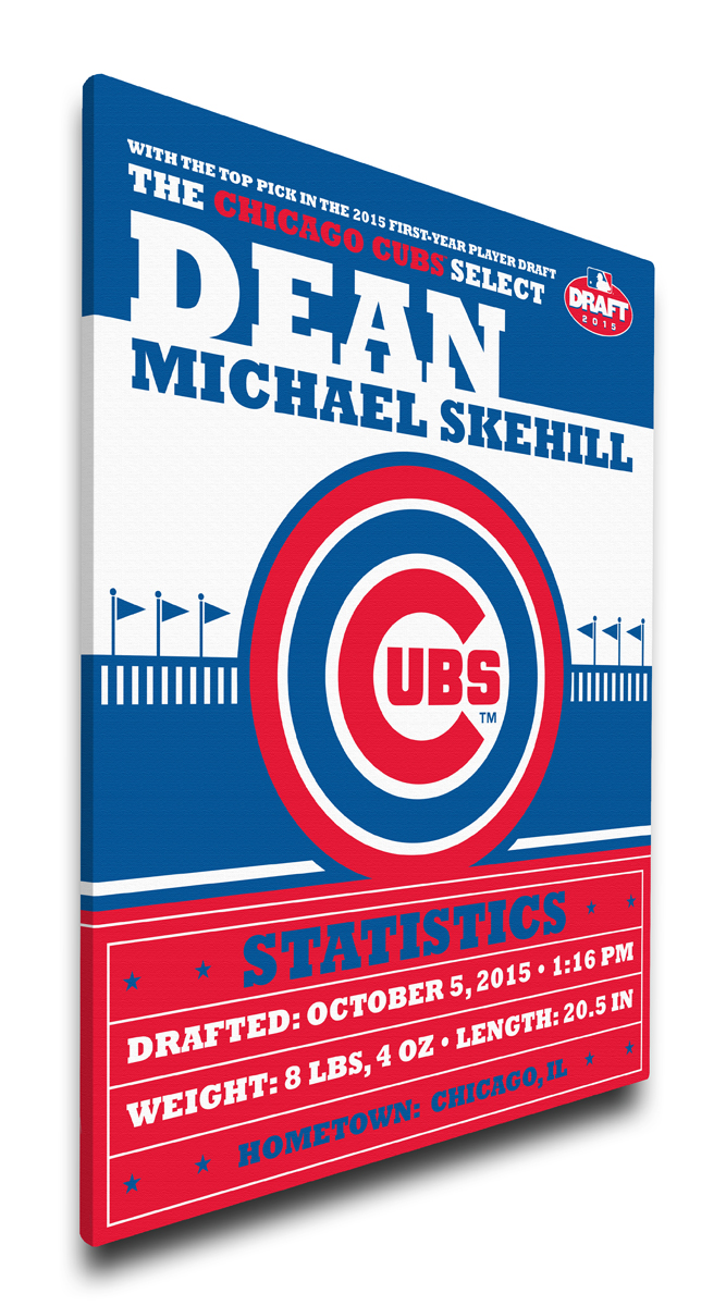 Chicago cubs personalized canvas birth announcement baby gift negle Images