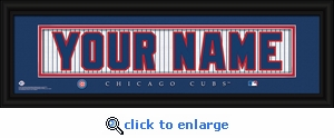 Chicago Cubs Personalized Stitched Jersey Nameplate Framed Print