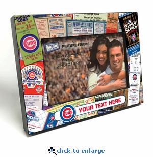 Chicago Cubs Personalized Ticket Collage Black Wood Edge 4x6 inch Picture Frame