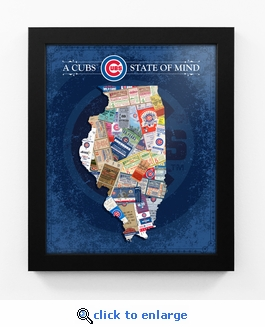 Chicago Cubs State of Mind Framed Print - Illinois