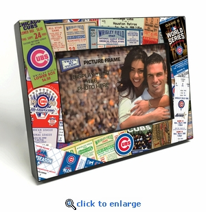 Chicago Cubs Ticket Collage Black Wood Edge 4x6 inch Picture Frame