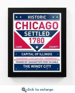 Chicago, Illinois Framed City Sign Print
