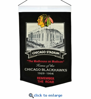 Chicago Stadium Wool Banner (20 x 15) - Chicago Blackhawks