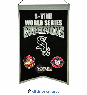 Chicago White Sox 3-Time World Series Champions Wool Banner (14 x 22)
