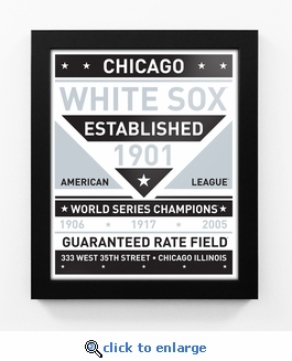 Chicago White Sox Dual Tone Team Sign Print Framed