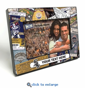 Chicago White Sox Personalized Ticket Collage Black Wood Edge 4x6 inch Picture Frame
