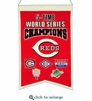 Cincinnati Reds 5-Time World Series Champions Wool Banner (14 x 22)