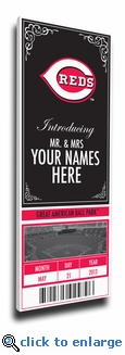 Cincinnati Reds Personalized Special Occasion Announcement on Canvas - Ticket Design