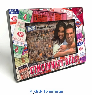 Cincinnati Reds Ticket Collage Black Wood Edge 4x6 inch Picture Frame