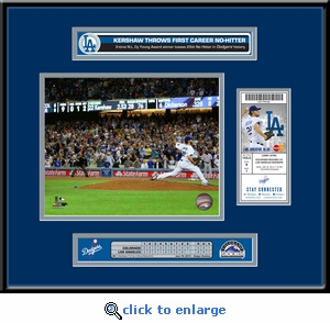 Clayton Kershaw No Hitter Ticket Frame - Los Angeles Dodgers