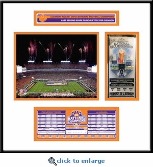 Clemson Tigers 2016 Football National Champions Ticket Frame with Stat Box