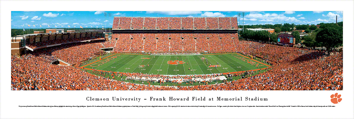 Clemson Tigers Football 50 Yard Line Panoramic Photo 135 X 40
