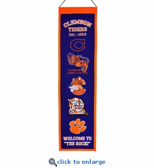 Clemson Tigers Heritage Wool Banner (8 x 32)