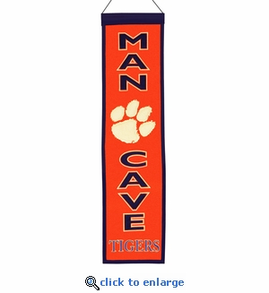 Clemson Tigers Man Cave Wool Banner (8 x 32)