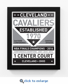 Cleveland Cavaliers Black and White Team Sign Print Framed