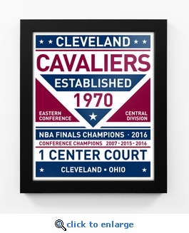 Cleveland Cavaliers Dual Tone Team Sign Print Framed