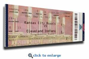 Cleveland Indians 22 Consecutive Wins Canvas Mega Ticket