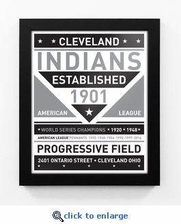 Cleveland Indians Black and White Team Sign Print Framed