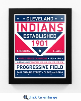 Cleveland Indians Dual Tone Team Sign Print Framed