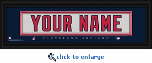 Cleveland Indians Personalized Stitched Jersey Nameplate Framed Print