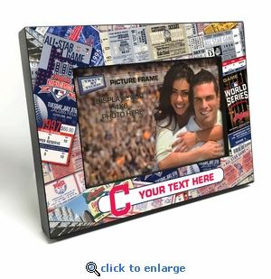 Cleveland Indians Personalized Ticket Collage Black Wood Edge 4x6 inch Picture Frame