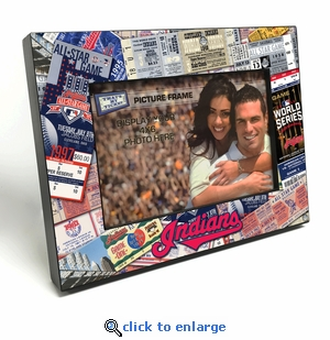 Cleveland Indians Ticket Collage Black Wood Edge 4x6 inch Picture Frame