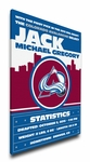 Colorado Avalanche Personalized Canvas Birth Announcement - Baby Gift
