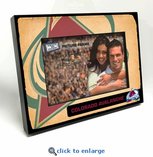 Colorado Avalanche Vintage Style Black Wood Edge 4x6 inch Picture Frame