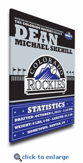 Colorado Rockies Personalized Canvas Birth Announcement - Baby Gift