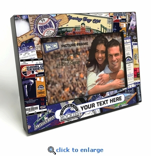 Colorado Rockies Personalized Ticket Collage Black Wood Edge 4x6 inch Picture Frame