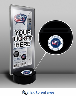 Columbus Blue Jackets My First Game Hockey Puck Ticket Stand