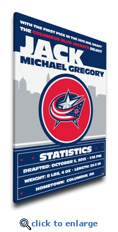 Columbus Blue Jackets Personalized Canvas Birth Announcement - Baby Gift