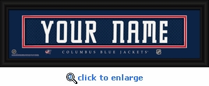 Columbus Blue Jackets Personalized Stitched Jersey Nameplate Framed Print