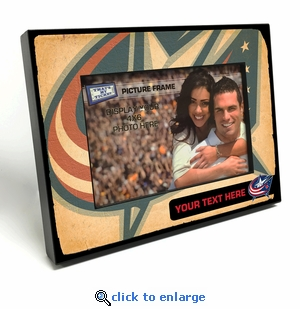 Columbus Blue Jackets Personalized Vintage Style Black Wood Edge 4x6 inch Picture Frame