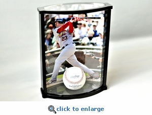 Curved Vertical 8 x 10 Photo and Baseball Golf Ball or Hockey Puck Acrylic Display Case