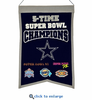 Dallas Cowboys 5-Time Super Bowl Champions Wool Banner (14 x 22)