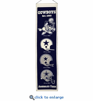 Dallas Cowboys Heritage Wool Banner (8 x 32)