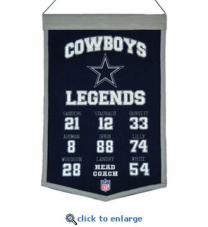 Dallas Cowboys Legends Wool Banner  (14 x 22)
