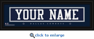 Dallas Cowboys Personalized Stitched Jersey Nameplate Framed Print