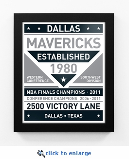 Dallas Mavericks Black and White Team Sign Print Framed