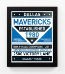Dallas Mavericks Dual Tone Team Sign Print Framed