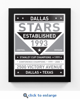 Dallas Stars Black and White Team Sign Print Framed