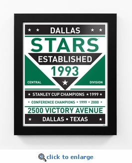 Dallas Stars Dual Tone Team Sign Print Framed