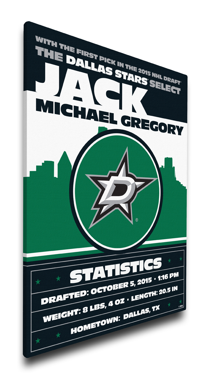 Dallas stars personalized canvas birth announcement baby gift negle