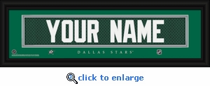 Dallas Stars Personalized Stitched Jersey Nameplate Framed Print