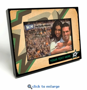 Dallas Stars Personalized Vintage Style Black Wood Edge 4x6 inch Picture Frame