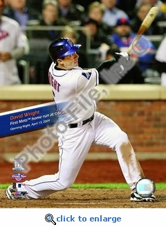 David Wright Hits First Mets HR 2009 Citi Field Inaugural Game 8x10 Photo