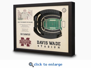 Davis Wade Stadium 3-D Wall Art - Mississippi State Bulldogs Football