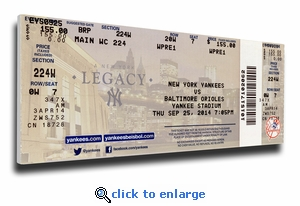 Derek Jeter Final Game at Yankee Stadium (9/25/14) Canvas Mega Ticket - Yankees