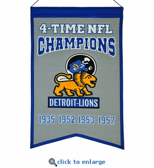 Detroit Lions 4-Time NFL Champions Wool Banner (14 x 22)